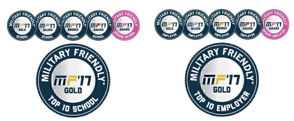 Military Friendly® 2017 award seals